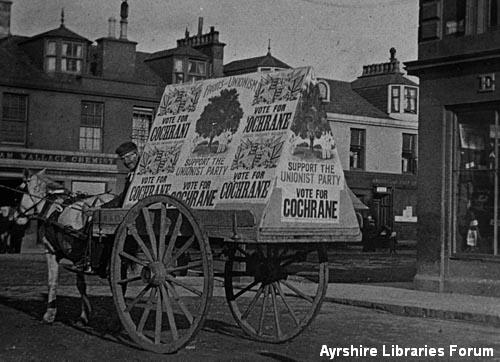 Election advertising cart, Ardrossan